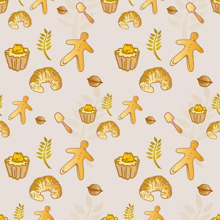 Gebäck-Bäckerei-Croissant-nahtloses Muster - goldene Farben Standard-Bild - 85613858