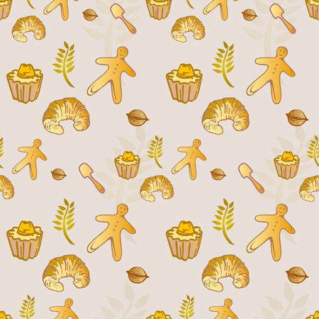 Pastry Bakery Croissant Seamless Pattern - Golden Colors