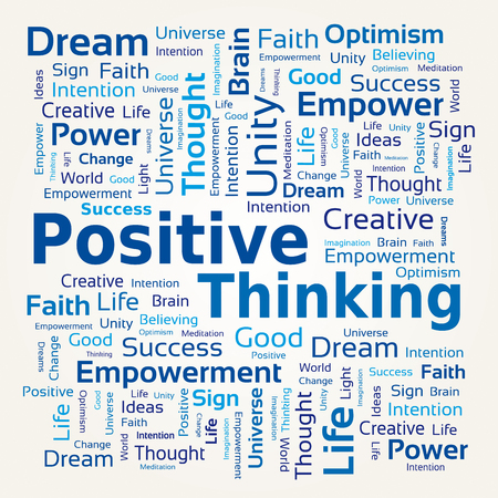 Word Cloud - Positive Thinking in Blue Colors. Illustration
