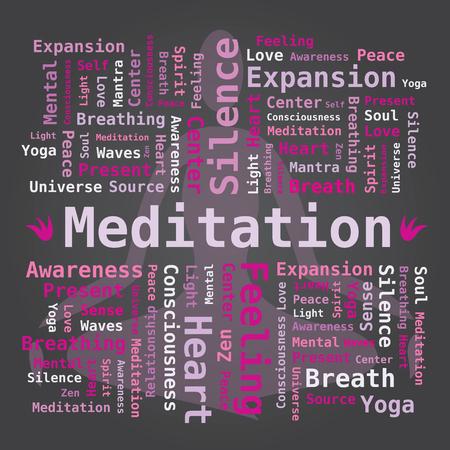 mantra: Word Cloud - Meditation in Violet Pink Colors