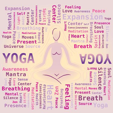 Yoga Wort-Wolke - Frau Silhouette Pose auf Hintergrund Standard-Bild - 85860112