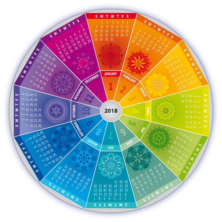 2018 Calendar with Mandalas in Rainbow Colors