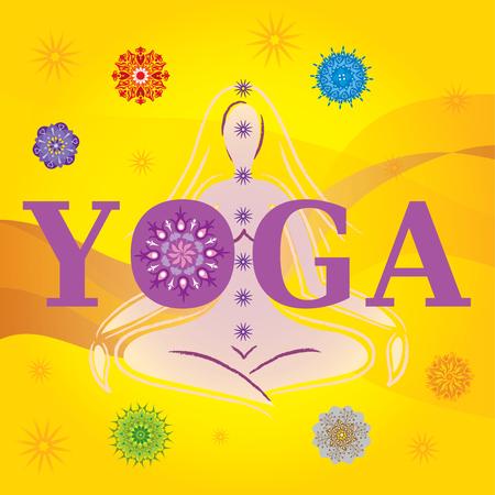 Word Yoga with Silhouette / Pose and Mandalas Иллюстрация