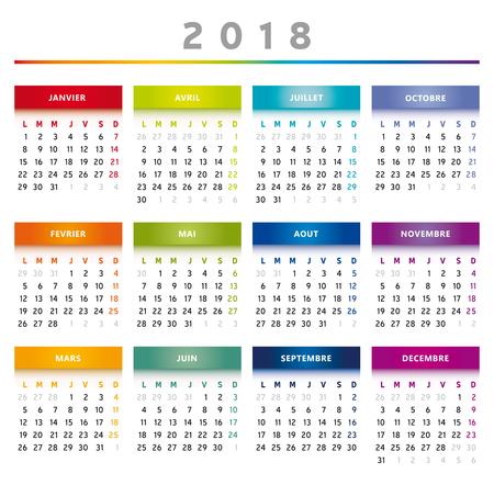 フランス語で 2018年カレンダー虹色します。  イラスト・ベクター素材