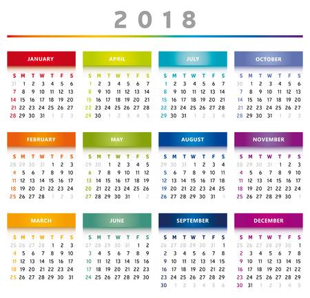 2018 Calendar Rainbow Colors in English