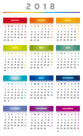 2018 Calendar Rainbow Colors in French - 3 Columns.