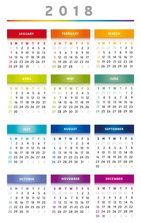 2018 Calendar Rainbow Colors in English - three Columns