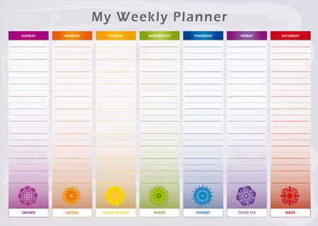 Planificateur hebdomadaire en couleurs arc-en-ciel Banque d'images - 88235176