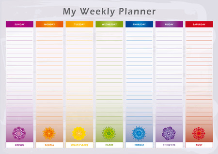 Weekly Planner in Rainbow Colors