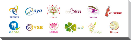 Set of Twelve Icons and Logo Designs - Multiple Colors and Elements Иллюстрация