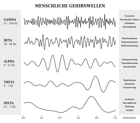 Menselijk brein golven diagram  grafiek  illustratie in Duits - zwart en wit Stock Illustratie