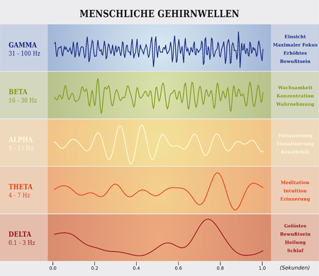 Human Brain Waves Diagram / Chart / Illustration in German Ilustração