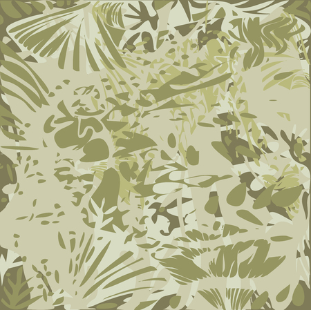 Vector Illustration of Abstract Foliage Pattern Texture Effects - Green Tones Illustration