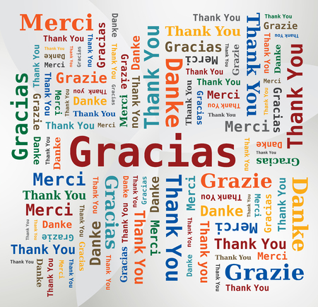 Thank You Word Cloud in 5 Languages ??- English, French, German, Spanish and Italian. Multicolored Letters and Different Orientations