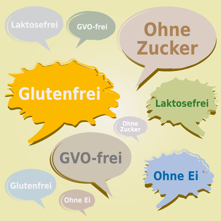 Dialog Boxes and Tags about Food Allergens. Gluten, Sugar, Lactose, GMO and Egg free Labels - German Language Фото со стока - 107203176