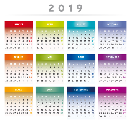 2019 Calendar with Boxes in Rainbow Colors 4 Columns - English Language Illustration