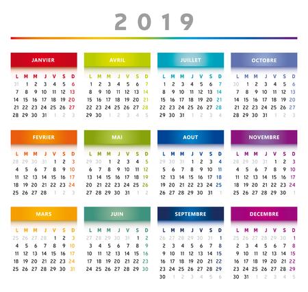 2019 Calendar with Boxes in Rainbow Colors 4 Columns - English Language Ilustração