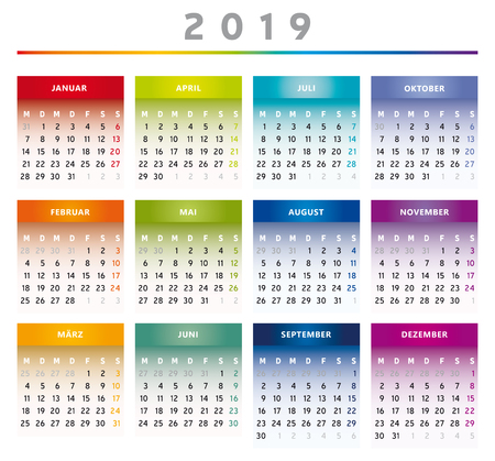 2019 Calendar with Boxes in Rainbow Colors 4 Columns - German
