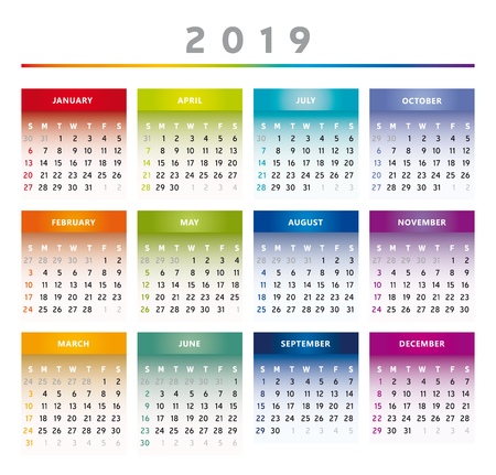 2019 Calendar with Boxes in Rainbow Colors 4 Columns - English Vettoriali