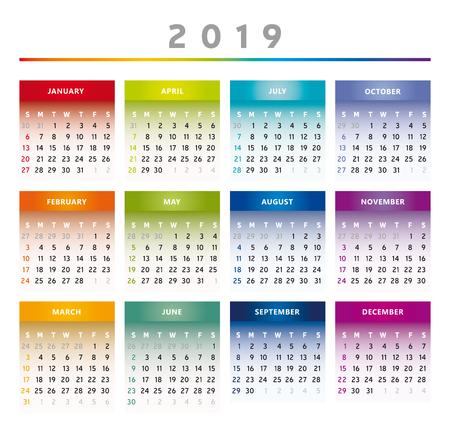 2019 Calendar with Boxes in Rainbow Colors 4 Columns - English Ilustração