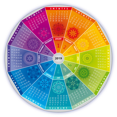 2019 Calendar with Mandalas in Rainbow Colors - Wheel Shape