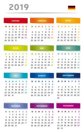 Calendar 2019 in Rainbow Colors 4 Trimester 3 Columns - German Language with Flag Ilustração