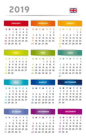 Calendar 2019 in Rainbow Colors 4 Trimester 3 Columns - English Language with UK Flag Фото со стока - 109238349