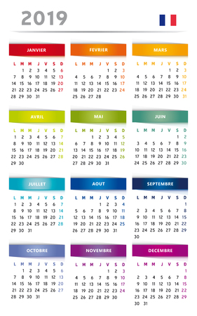 Calendar 2019 in Rainbow Colors 4 Trimester 3 Columns - French Language with Flag Фото со стока - 109238350