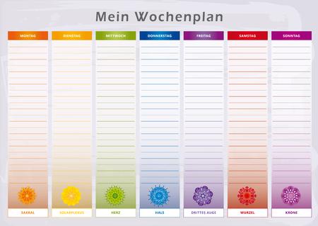 Agenda hebdomadaire avec 7 jours de chakras aux couleurs arc-en-ciel - Langue allemande Vecteurs