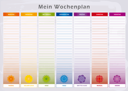 Weekly Planner with 7 Days Chakras in Rainbow Colors - German Language