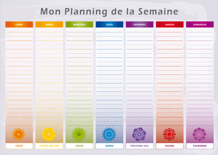 Weekly Planner with 7 Days and corresponding Chakras in Rainbow Colors - English Language