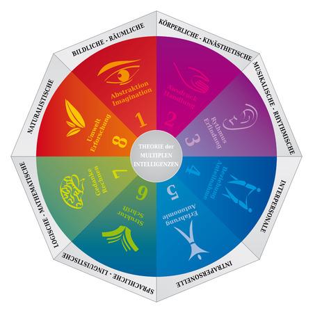 Diagrama de la teoría de las inteligencias múltiples de Gardner, una herramienta de entrenamiento y psicología - Idioma alemán