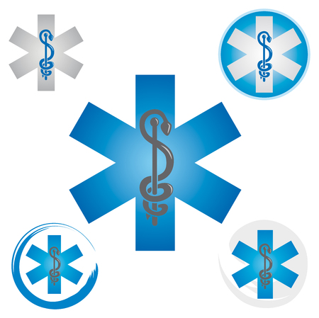 Set of Emergency Star Icons with Caduceus Blue Symbol - Health  Pharmacy