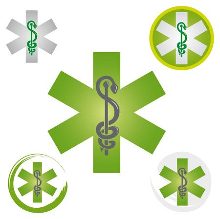 Set of Emergency Star Icons with Caduceus Green Symbol - Health  Pharmacy Ilustração