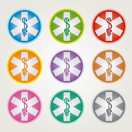 Set of 9 Emergency Star Icons with Caduceus Various Colors - Pharmaceutical Industry