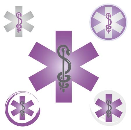 Set of Emergency Icons with Caduceus Symbol Purple - Health  Pharmacy