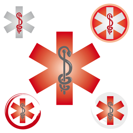 Set of Emergency Star Icons with Caduceus Red Symbol - Health  Pharmacy