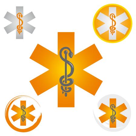 Set of Emergency Star Icons with Caduceus Yellow Symbol - Health  Pharmacy Ilustração