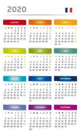 2020 Calendar with Boxes in Rainbow Colors 4 Trimesters - 3 Columns - French Language with Flag Иллюстрация
