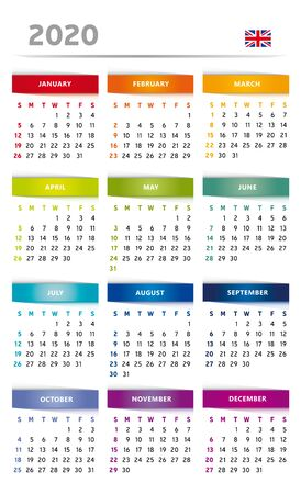 2020 Calendar with Boxes in Rainbow Colors 4 Trimesters - 3 Columns - English Language with Flag