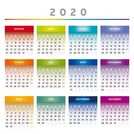 2020 Calendar with Boxes in Rainbow Colors 4 Trimesters - 4 Columns Фото со стока - 137330869