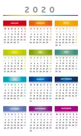 2020 Calendar with Boxes in Rainbow Colors 4 Trimesters - 3 Columns Иллюстрация