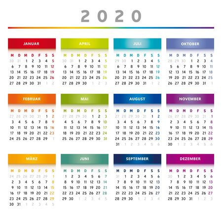 2020 Calendar with Boxes in Rainbow Colors 4 Trimesters - 4 Columns
