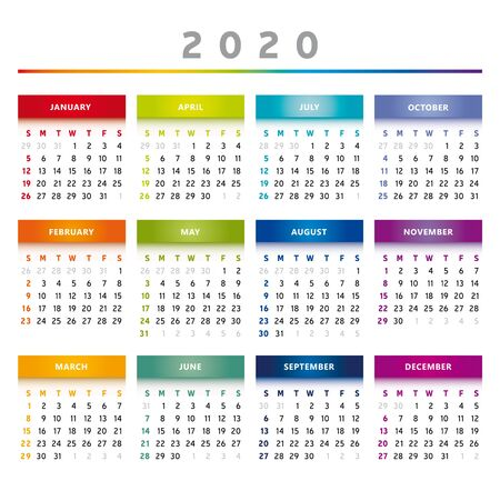 2020 Calendar with Boxes in Rainbow Colors 4 Trimesters - 4 Columns Фото со стока - 137331014