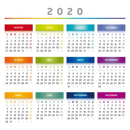 2020 Calendar with Boxes in Rainbow Colors 4 Trimesters - 4 Columns Фото со стока - 137331016