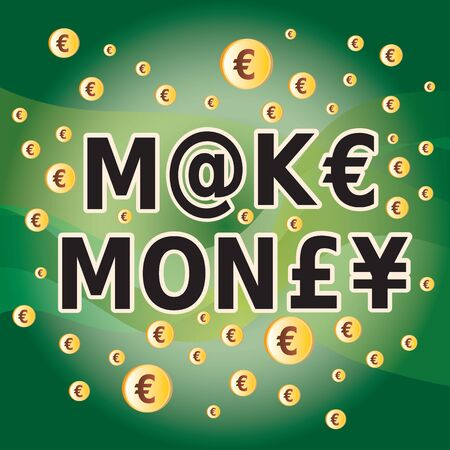 Make Money - Letter and Money Currency Symbols in Green and Gold Colors Фото со стока - 149566297