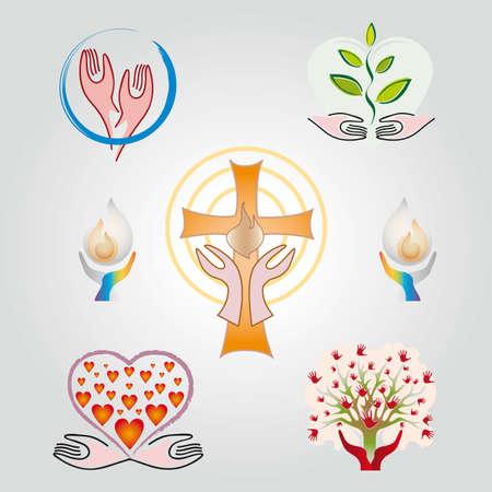 Set of Spirituality - Religion - Faith Icons - Several Colors
