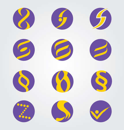Set of twelve Abstract Round Icons, Letter S, Infinity and Paragraph Symbols  イラスト・ベクター素材