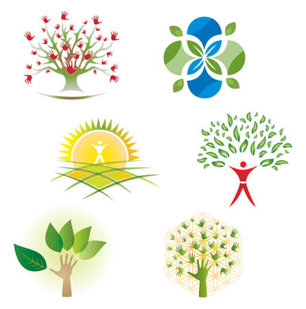 Set of Tree Nature Foliage and Hands Icons for Logo Design