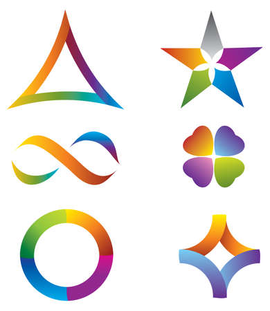 Set of Icons Rainbow Colors with Star, Infinity Symbol, Circle and Clover  イラスト・ベクター素材
